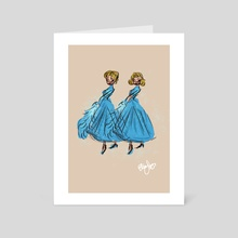 Sisters-White Christmas - Art Card by Eliana Clemente