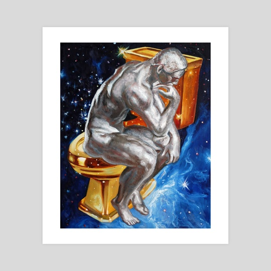 Thinker and golden toilet in space by An Ka