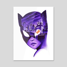Catwoman Noir - Acrylic by Veronica Fish