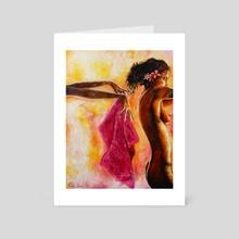 Pink Towel - Art Card by Ricky Loree
