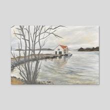 Salt House - Norway - Acrylic by Erika Birkenes