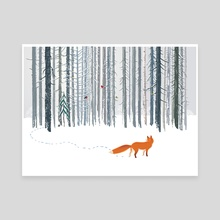 Winter forest with Fox - Canvas by Zhovba Pavel
