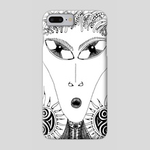 9.B&W-A4. Alien - Phone Case by Darling Wicks
