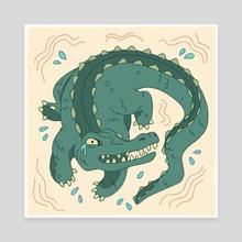 Anxiety Alligator  - Canvas by Sarah Trautman