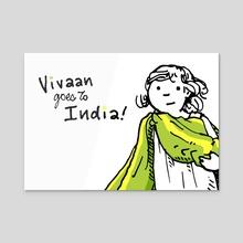 Vivi Goes to India Text - Acrylic by Ra Lu