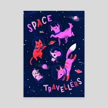 Space Travellers - Canvas by Susann Hoffmann