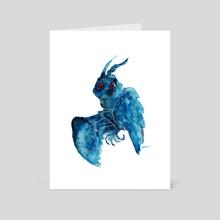 Mothman in Blue - Art Card by Ethan Yazel