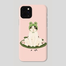Cat in Frog Hat on Lilypad - Phone Case by Broccoli Cat Art