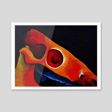 Dartmoor Pony Skull Abstract 5 - Acrylic by Peter Andrew