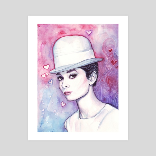 Audrey Hepburn Fashion Watercolor by Olga Shvartsur