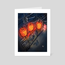 Bright Lanterns on a Grey Night - Art Card by Quyncc Johnson