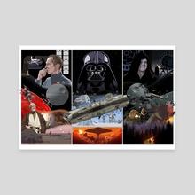 Star Wars original trilogy triptych - Canvas by Bill Mudron