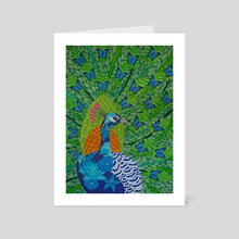 Peacock & Butterflies - Art Card by Paul Robbins