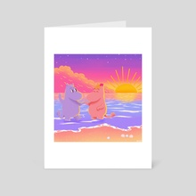 Moomintroll and Snorkmaiden at the beach  - Art Card by Ross Estrada