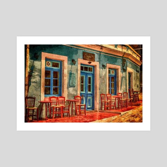 Greek Sidewalk Cafe by Denise Dundon