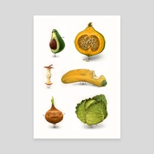 Rotten Fruit Friends set 2 - Canvas by Tom Bonson