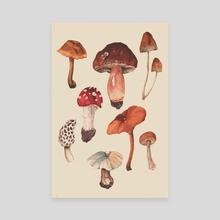 Wild Mushrooms Vintage - Canvas by Martalia Andayani