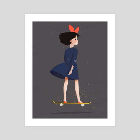 Kiki on a Skateboard by Melanie Yu