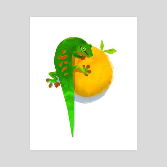 Gecko and A Peach by Crystal Smith