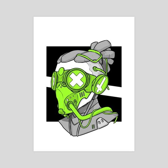 Neon Mask - Inktober 2020 day 15 by Flygohr