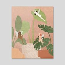 Fairy Talk (Pink) - Acrylic by Tisha Hernandez