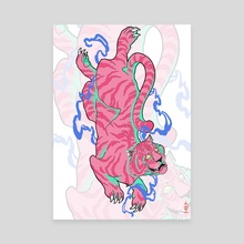 Pink Tiger - Canvas by Eugenia Zhalnina