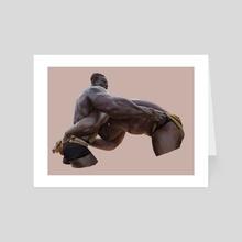 Senegalese wrestlers.  - Art Card by Daniel Clarke