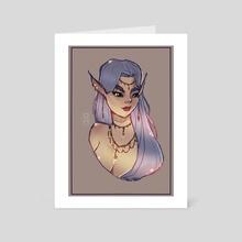 Blue Haired Elf - Art Card by Xavier Alega