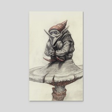 Squating Gnome - Acrylic by Charles Lister