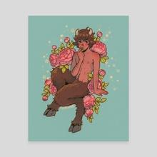 Faun boy eats a flower - Canvas by Luis Bolívar