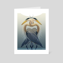 Twinned Herons - Art Card by Dylan Meconis