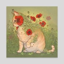 Botanimals - Red Poppy Kitty - Canvas by KM Steere
