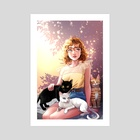 Nina and her cats - Art Print by Katherine Lobo