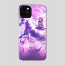 Kitty Cat Riding On Flying Space Galaxy Unicorn - Phone Case by Random Galaxy
