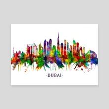 Dubai United Arab Emirates Skyline - Canvas by Towseef Dar