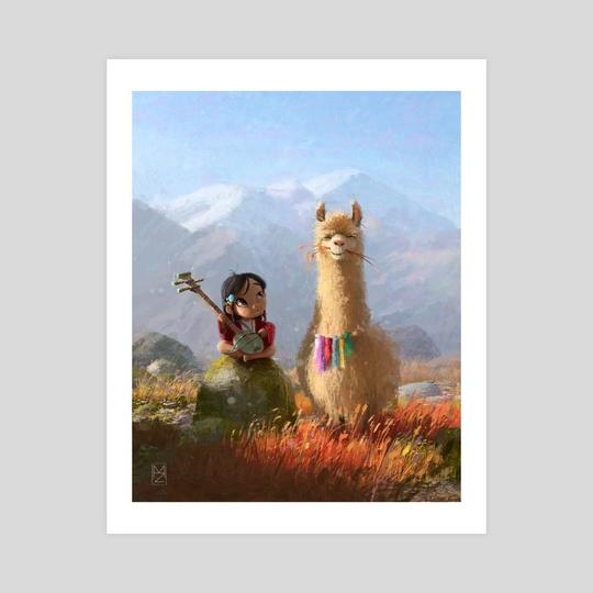 Little Jamyang and her llama Cepla by Martin Zahradník