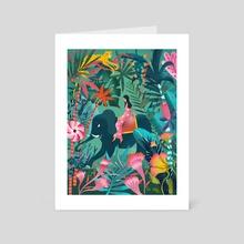 elephant jungle ride - Art Card by mira paradies