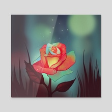 Night rose - Acrylic by FoxbergART Foxberg