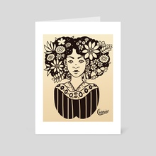 Afro Garden (Ink) - Art Card by Abigail Kate