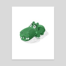 Dog Toy Hippo - Canvas by Kevin Durr