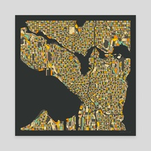 Seattle Map 2 - Canvas by Jazzberry Blue