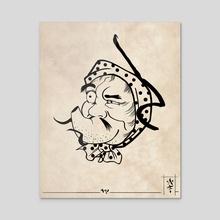 Hyottoko mask - Acrylic by Vasi Halaicu