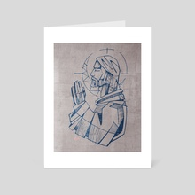 Jesus Christ Praying - Art Card by Bernardo Ramonfaur