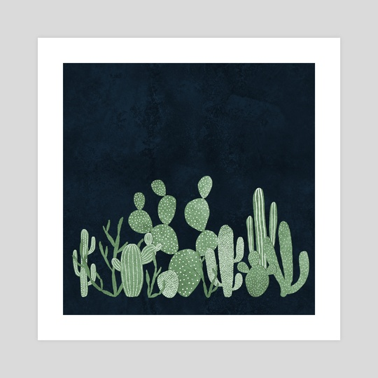 Green cactus garden on navy by Lavish  Season