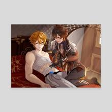 Tartaglia and Zhongli after fight care - Canvas by Shiroi Sayuri