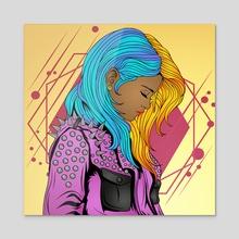 Fiona Dreams - Acrylic by Charles Ituah