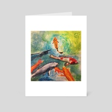 Colorful Swimmers - Art Card by Dafina Dervishi