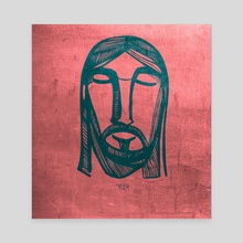 Jesus Christ Face on red background - Canvas by Bernardo Ramonfaur