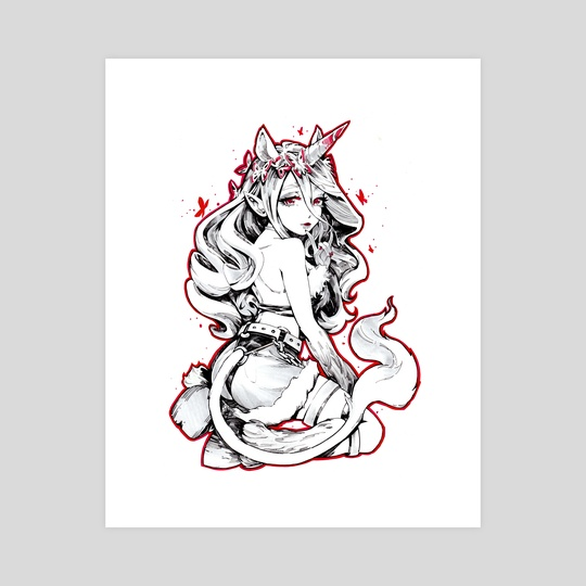 Unicorn Girl: Oddtober Monster Girl Series by Tweedle draws