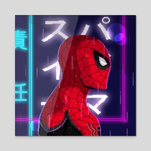 Spider-Man (Far From Home) Neon Pixel Art - Acrylic by Kazi Sakib